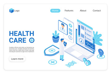 Health care landing page vector template. Diagnostics clinic, hospital website homepage UI layout with isometric illustration. Healthcare industry, medical service web banner, webpage 3D concept