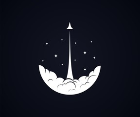 Rocket/shuttle launch in sky with smoke and stars black background - Isolated Vector Illustration