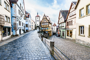ROTHENBURG OB DER TAUBER, GERMANY - MARCH 05: Typical street on March 05, 2016 in Rothenburg ob der Tauber, Germany. It is well known for its well-preserved medieval old town. Fototapete