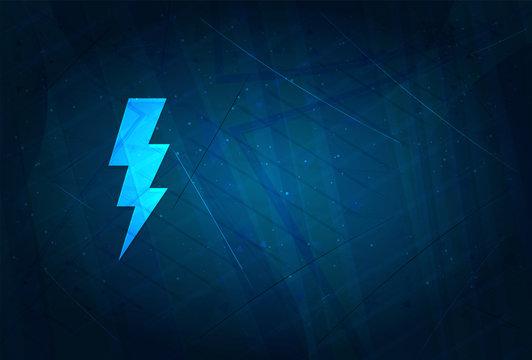 Lightning bolt icon futuristic digital abstract blue background