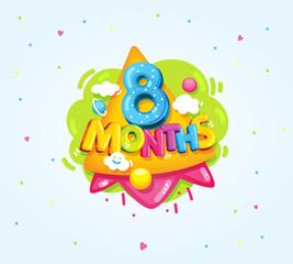 Papiers peints Sous-marin 8 months baby color symbol. Cartoon kids vector illustration