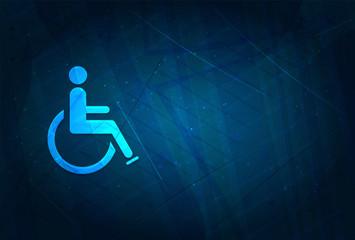Wheelchair handicap icon futuristic digital abstract blue background