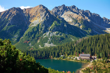 Poprad Lake with autumn forests  from the hiking trail of the Ostrva mountain in High Tatras...