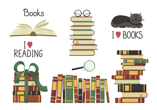 Old books set. Stacks from old books and handwriting on white background. Education vector illustration.