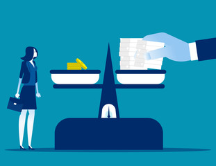 Workload doubling while salary stays the same. Concept business working and finance vector illustration