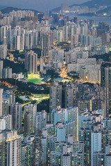 Wall Mural - iconic evening scene of cityscape of Hong Kong