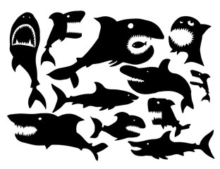 A set of shark silhouettes. Vector illustration