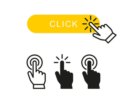 Finger clicks on yellow button and set hand pointer or mouse cursor push linear icon symbol