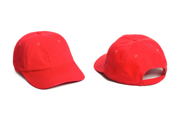 red Baseball cap isolated on white background. Front and back view.