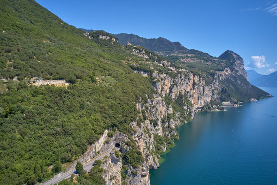Top view of the cliffs of Lake Garda Italy