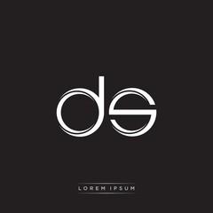 Fototapeta DS Initial Letter Split Lowercase Logo Modern Monogram Template Isolated on Black White obraz