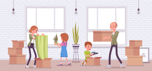 Family moving to a new flat. Happy parents and kids celebrate relocation, unpacking together essentials boxes in empty room, opening cardboards with belongings. Vector flat style cartoon illustration
