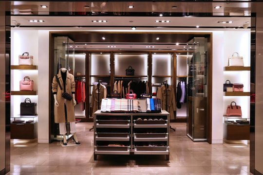 TAIPEI, TAIWAN - DECEMBER 5, 2018: Burberry fashion store at duty free zone at Taoyuan International Airport near Taipei, Taiwan. It is Taiwan's largest and busiest airport.