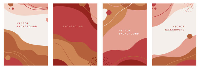 Vector set of abstract creative backgrounds in minimal trendy style with copy space for text - design templates for social media stories - simple, stylish and minimal wallpaper designs