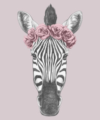Portrait of Zebra with floral head wreath. Hand drawn illustration. Vector isolated elements.