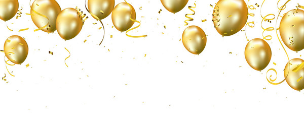 Celebration banner with Gold balloons background. Sale Vector illustration.