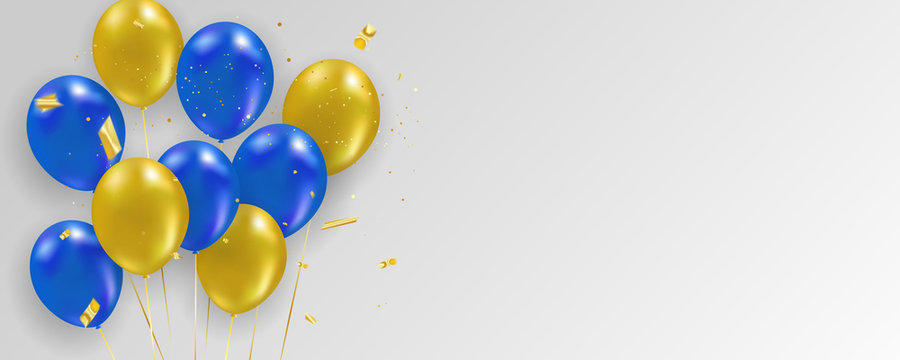 Blue yellow balloons, Gold confetti concept design template holiday Happy Day, background Celebration Vector illustration.