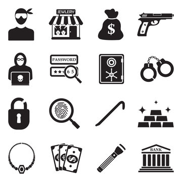 Thief Icons. Black Flat Design. Vector Illustration.