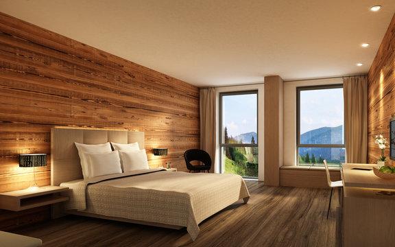 Hotelzimmer mit Holzwand