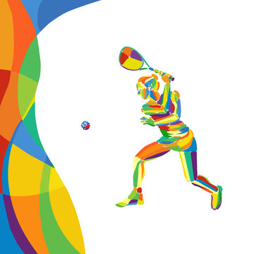 Woman squash player abstract colorful vector illustration eps10