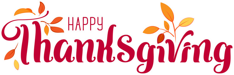 Happy Thanksgiving ornate text for greeting card. Autumn Leaves and Header Template Wall mural