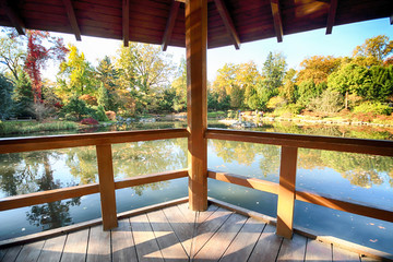 Aluminium Prints Place of worship WROCLAW, POLAND - OCTOBER 18, 2019: Japanese Garden is situated in the vicinity of the historical Pergola and Centennial Hall in Wroclaw, Poland. It represents the trace after the World Expo in 1913.