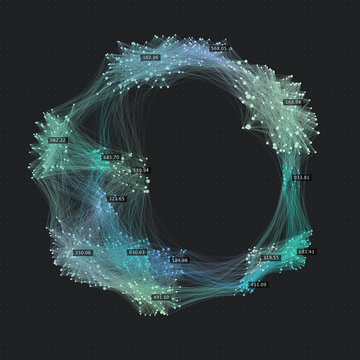 Sphere cluster of communication links. Social media graph background. Connected network of users. Creative data visualization background.