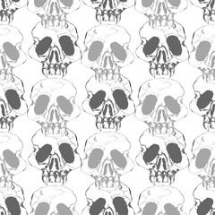 Watercolor hand drawn artistic  spooky Halloween predator human skull cartoon  vintage seamless pattern