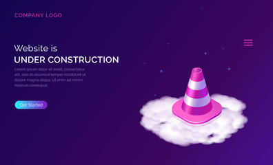 Website under construction, maintenance work or error page isometric concept vector illustration. Warning signal traffic cone on white cloud, purple web banner