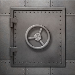 Bank vault or bunker door on metal wall 3d illustration