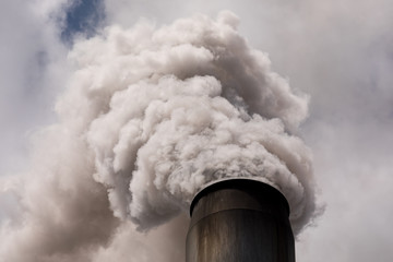 smoke stack billowing smoke