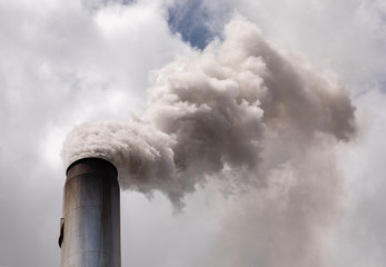 smoke stack billowing smoke