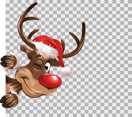 Rudolph Christmas red hat transparent isolated Background Vector Illustration