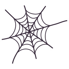 Spider web icon. Line vector illustration. Halloween holiday creepy decoration elements.