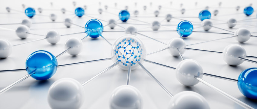 Blue and white sphere network structure - abstract design connection design - 3D illustration