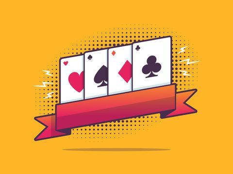 Vintage pop art banner with poker cards vector illustration