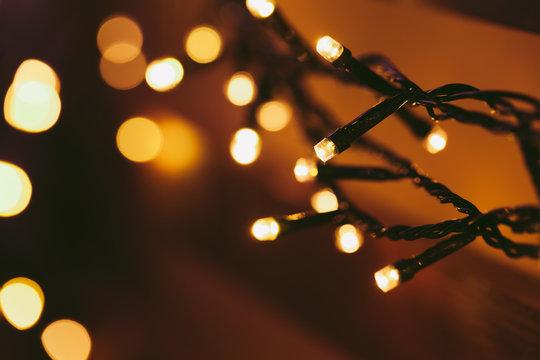 Bokeh light of holiday garland close up