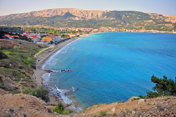 Scenic view of Baska resort and bay on Krk island