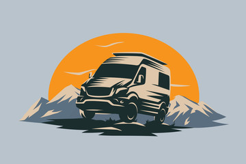 Camper van illustration with rocks and mountains. RV vehicle standing on rocks on the sunset. Vector illustration.