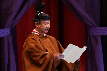 Japan's Emperor Naruhito delivers a speech during his enthronement ceremony at the Imperial Palace in Tokyo