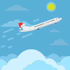 Airplane with santa claus cap or hat flying in sky. Travel and christmas concept ads design. Vector illustration.