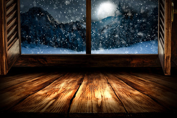 Winter window sill and free space for your decoration.