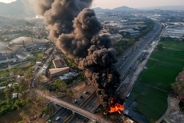 An aerial picture of a fire on a pipeline owned by PT Pertamina in Cimahi near Bandung, West Java province