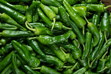 In de dag Hot chili peppers green chili peppers
