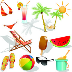Vector set with elements that are encountered in summer on the beach./Summer and beach vector set.