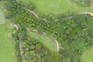 Deurstickers Pistache Aerial photography beautiful park lawn road path landscape aerial view