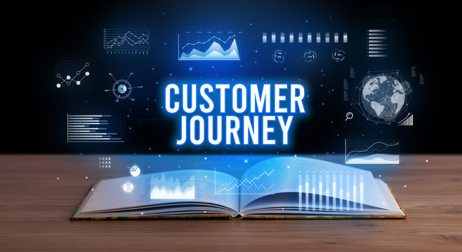 CUSTOMER JOURNEY inscription coming out from an open book, creative business concept