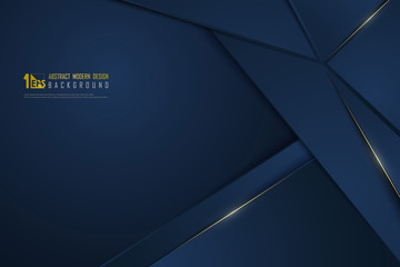 Abstract gradient blue luxury golden line template premium background. illustration vector eps10