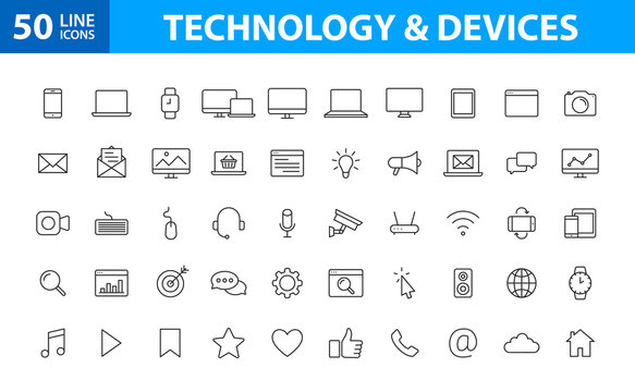Set of 50 Device and technology web icons in line style. Computer monitor, smartphone, tablet and laptop. Vector illustration.