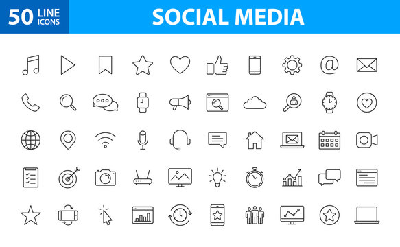 Set of 50 Social Media web icons in line style. Contact, digital, social networks, technology, website. Vector illustration.